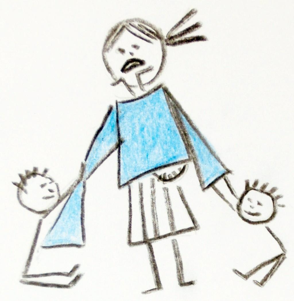 Matka s třema dětma a pokus o šátkování