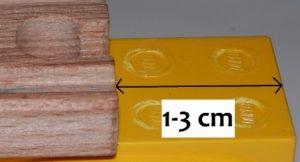 Vzdálenost od kraje kostičky 1-3 cm