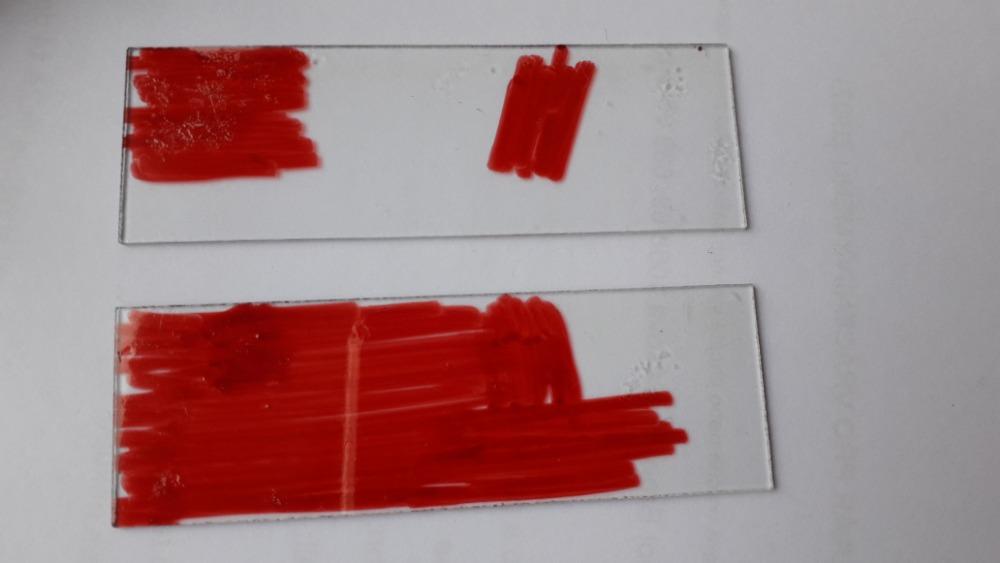 Obarvený vzorek zachycené vločky