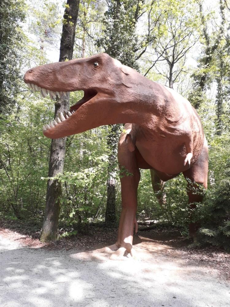 Tyranosaurus číhá v chládku mezi stromy